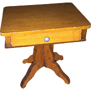 Antique German Wooden Miniature Dollhouse Sewing Table