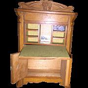 Antique Wooden German Dollhouse Secretary Desk