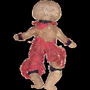 Antique Folk Art Civil War Black Americana Cloth Rag Doll