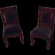 Antique Biedermeier German Dollhouse Miniature Set of Chairs