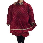 Antique Folk Art Cloth Doll Body With Red Calico Dress And Bloomers