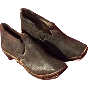 Antique Early Child's Leather Wooden Ice Shoes