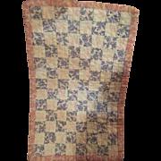 Antique Miniature Square Calico Sampler Doll Quilt