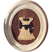 Antique Paper Doll Dress In Old Walnut Painted Oval Frame As Found