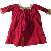 Antique  Cotton Red Doll Dress With Old Lace