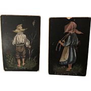 Antique American Oil Painted Cabinet Size Pair of Paintings