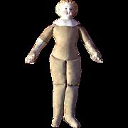 Antique German Parian Shoulderhead Doll With Cloth Body