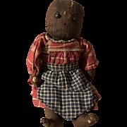 Antique American Folk Art Baby Shoe Button Eye Cloth Rag Doll