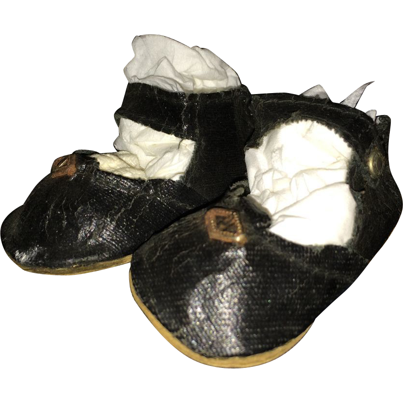 black cloth doll shoes from santiques on ruby