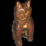 AntiqueWood Carved American Folk Art Miniature Dollhouse Cat