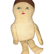 Old Embroidered Face 1920's Flapper Style Cloth Doll