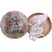 Old Doll Bonnet with Lithograph German Box