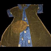 Antique Velvet Fashion Doll or Teddy Bear Coat and Beret