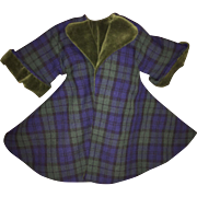 Doll Plaid Velvet Lined Swing Coat with Trousers