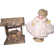 "German Bisque Swivel Head 5"" Doll with Miniature Well with Pail"