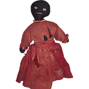 Antique Folk Art Black Americana Stitched Face Cloth Rag Doll