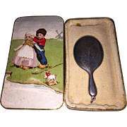 Antique German Lithogragh Box with Miniature Sterling Silver Hand Mirror