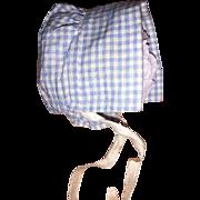 Antique Miniature Gingham Prairie Doll Bonnet