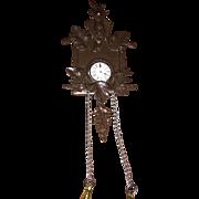 Antique Metal Dollhouse German Miniature Deerhead Cukoo Clock