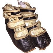Antique Leather Victorian Childs Button Strapped Shoes