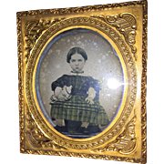 Antique Ambrotype Photographic Image Girl with Her Doll