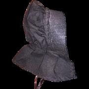 Antique Black Cloth Amish Doll Bonnet