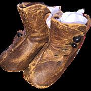 Antique Leather Keystone Mark French Fashion Doll Shoes