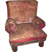 Antique Miniature Doll Size Apolstered All Original Arm Chair