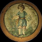 Antique Lithogragh Little Boy Vanity Trinket Box Love Token