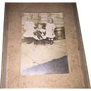 Antique Victorian Photo Of 3 Children Holding Old Teddy Bear