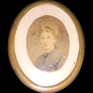 Antique Victorian Hand Painted Miniature Portrait