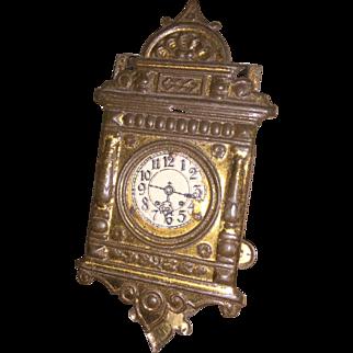 German Embossed Metal Miniature Dollhouse Clock