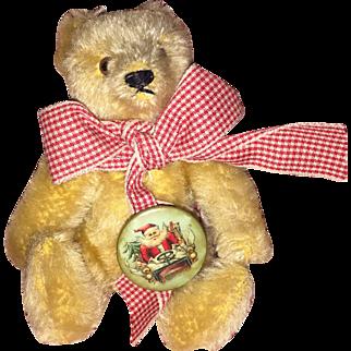 Old Miniature Golden Mohair Steiff Bear with Celluiod Saya Pin Back Button