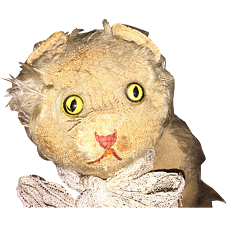 Antique Straw Stuffed Musical Glass Eyed Kitty Cat