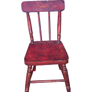 Antique Miniature Red Paint Stencil Chair