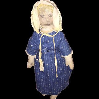Antique Folk Art Americana Hand Drawn Face Cloth Rag Doll in Calico Dress