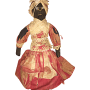 Antique Folk Art Stockinette Estate Cloth Rag Doll