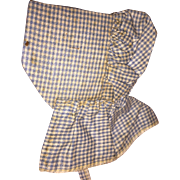 Antique Gingham Early Doll Bonnet