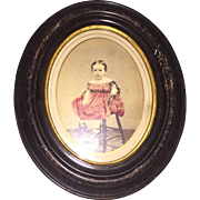 Antique Victorian Hand Colored Enhanced Photo Young American Girl In Red Dress Original Frame