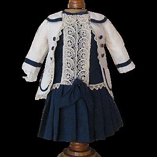 Sale! Beautiful Dress, Jacket fits 17 inch (43cm) Doll  French Bebe Jumeau SFBJ Steiner or German.