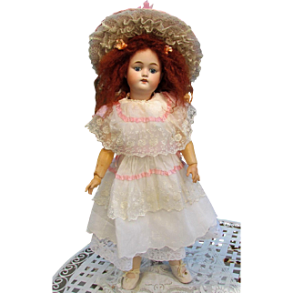 """Sale! White Batist Dress with Matching Petticoat Hat, fits 22-23"""" French Bebe or German Doll"""