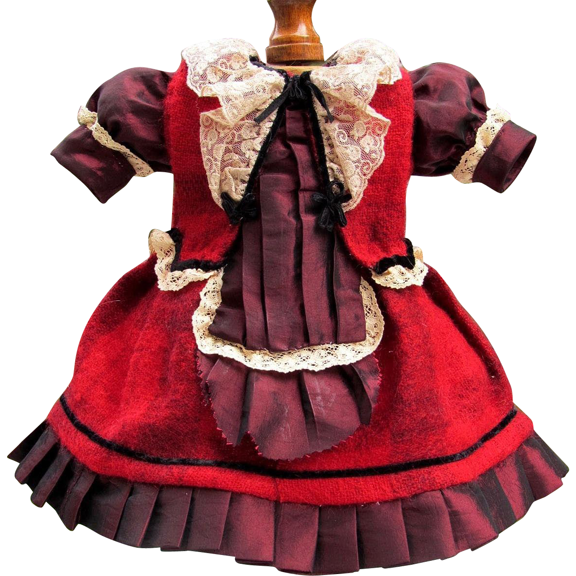 red plaid mohair doll dress fits 17 18 antique french. Black Bedroom Furniture Sets. Home Design Ideas