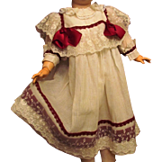 "Dress fits 28-29"" Doll Antique German or French Bebe, cotton eyelet half a slip."