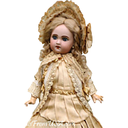 """Antique French 16"""" (41cm) Jumeau 1907 Precious sweet and lovely! Perfect Condition and Cabinet Size!"""