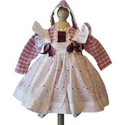 """Doll Dress, eyelet Apron Fits 16-18"""" German or French Toddler Doll or Character Doll"""