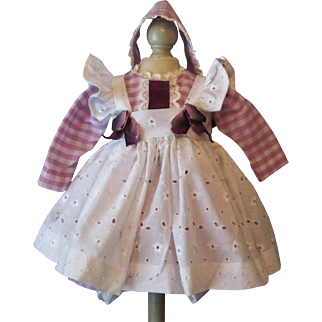 "Doll Dress, eyelet Apron Fits 16-18"" German or French Toddler Doll or Character Doll"