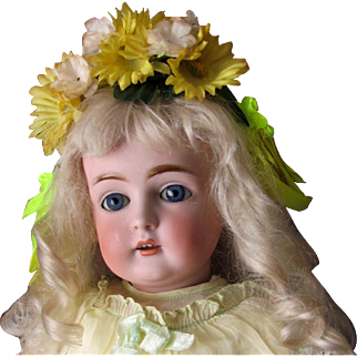 """Millinery Yellow and White  Flowers Dolls Hairpiece, Wreath, band, bonnet for doll head around 10-11""""circum."""