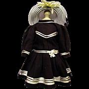 "Wonderful Vintage Sailor or Mariner Dress fits 21- 23"" French or German Child Doll"