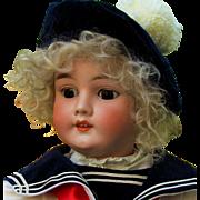 "Striking 23"" Kley & Hahn Boy in Sailor Costume, wonderful condition. Layaway"