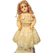 "Cotton Old Ivory Dress with Full Slip fit 26""-27"" (68cm) German or French Doll"